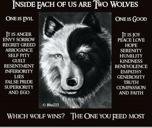 Two Wolves with Yin Yang