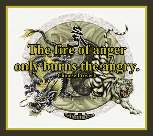The fire of anger only burns the angry.