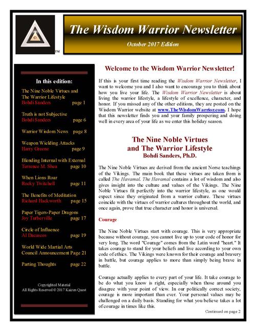 The Wisdom Warrior Newsletter October 2017_WEB